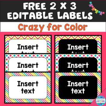 Editable 2 X 3 Labels in Colorful Chevron
