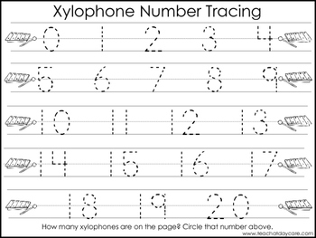 2 Xylophone themed Task Worksheets. Trace the Alphabet and Numbers 1-20. Prescho