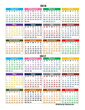 2 Year Calendar Color