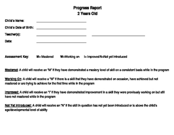 2 Year Old Progress Report