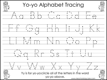 2 Yo-yo themed Task Worksheets. Trace the Alphabet and Numbers 1-20. Preschool