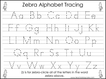 2 Zebra themed Task Worksheets. Trace the Alphabet and Num