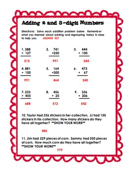 2 and 3 Digit Addition Practice