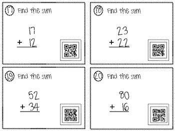 2 and 3 Digit Addition QR Task Cards