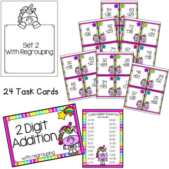 2 and 3-Digit Addition Task Cards - Unicorn Theme