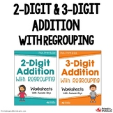 2 and 3 Digit Addition With Regrouping Worksheets With Answer Keys