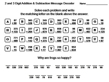 2 and 3 Digit Addition and Subtraction Activity: Math Message Decoder