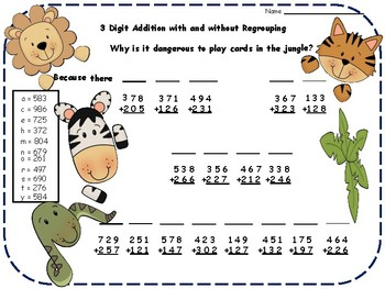 2 and 3 Digit Addition and Subtraction Jokes