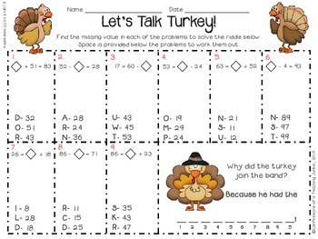 2 and 3-Digit Addition and Subtraction - Let's Talk Turkey