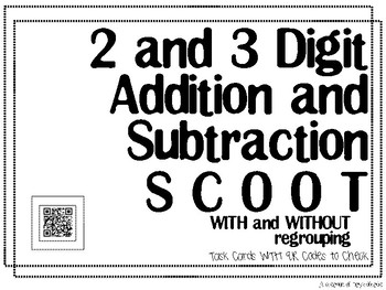 2 and 3 Digit Addition and Subtraction QR Task Cards