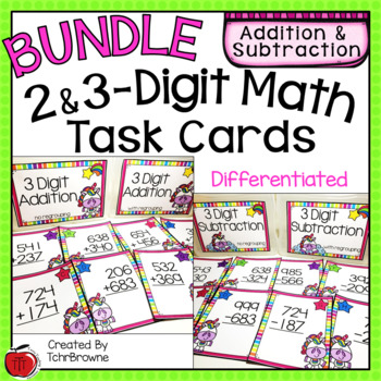 2 and 3-Digit Addition and Subtraction Task Cards - Unicorn Theme