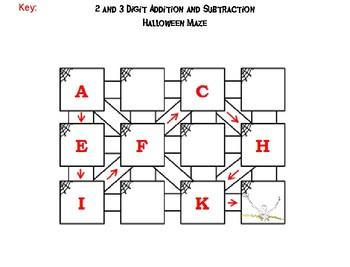 2 and 3 Digit Addition and Subtraction W-W/O Regrouping Halloween Math Maze