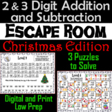 2 and 3 Digit Addition and Subtraction W& WO Regrouping Escape Room Christmas