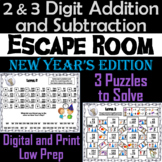 2 and 3 Digit Addition and Subtraction W& WO Regrouping Escape Room New Year's