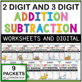 2-Digit and 3-Digit Addition and Subtraction Worksheets-Distance Learning Packet