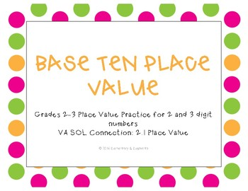 2 and 3 Digit Base Ten Place Value Task Cards