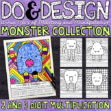2 and 3 Digit Multiplication | Monster Color by Number | D