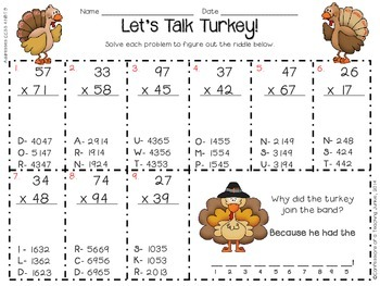 2 and 3-Digit Multiplication and Division - Let's Talk Turkey