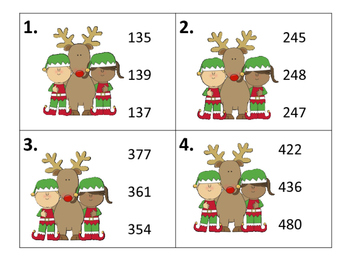 Number Order--Task Cards and Worksheets--Christmas Theme