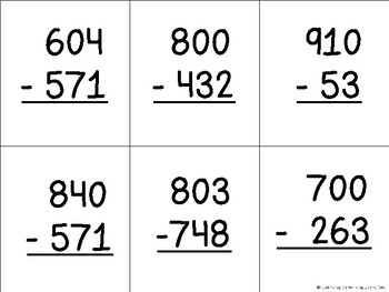 2 and 3 Digit Subtraction Across Zeros 5 in a Row Game