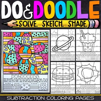 2 and 3 Digit Subtraction Color by Number | Do and Doodle