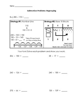2 and 3-Digit Subtraction Fluency Pages (with Example and Model!)