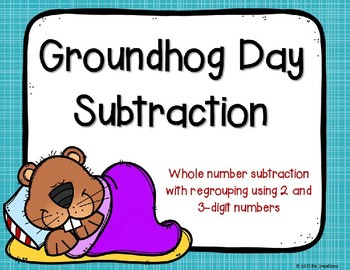 2 and 3 Digit Subtraction {Groundhog Day Theme}
