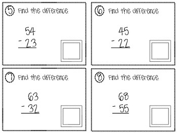2 and 3 Digit Subtraction QR Task Cards