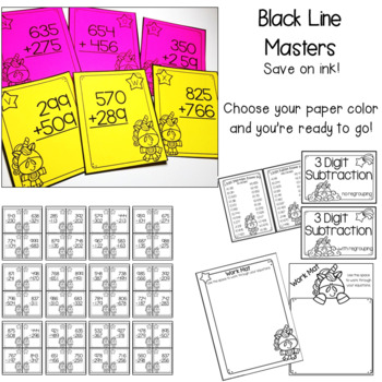 2 and 3-Digit Subtraction Task Cards - Unicorn Theme
