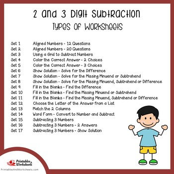 2 and 3 Digit Subtraction, With and Without Regrouping