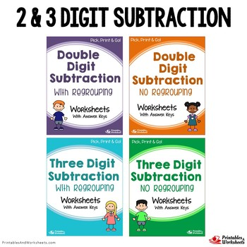 2 and 3 Digit Subtraction With Regrouping, No Regrouping Worksheets Bundle