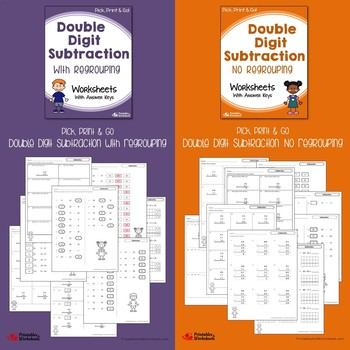 Two and Three Digit Subtraction Worksheets Bundle