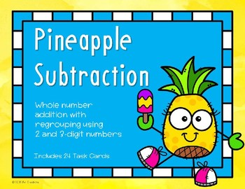2 and 3 Digit Subtraction with Regrouping {Pineapple}