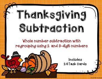 2 and 3 Digit Subtraction with and without Regrouping {Thanksgiving Theme}