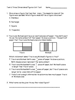 2 and 3 Dimensional Figures Unit Test