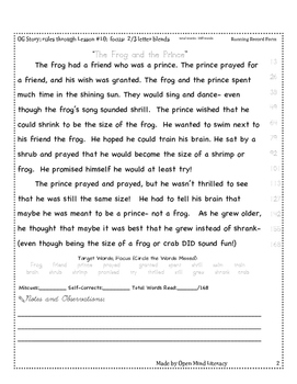 2 and 3 Letter Blends Oral Reading Practice:: Running Record Form