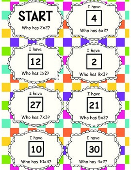2 and 3 Times Tables Follow Me Cards
