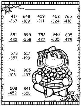 2 and 3 digit Addition and Subtraction with Regrouping Printables
