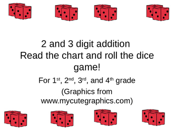2 and 3 digit addition roll the dice read the table game