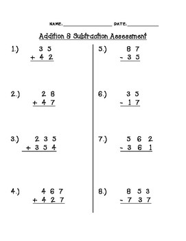 2- and 3- digit addition/subtraction