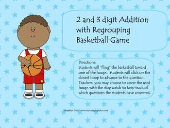 Addition 2 and 3 digit with regrouping Basketball Game for