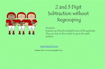 Subtraction 2 and 3 digit without regrouping Smart Board Lesson