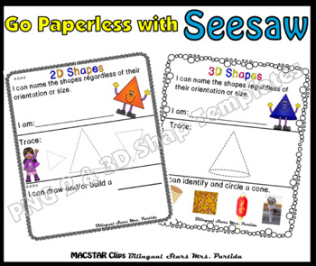 2D and 3D Shapes PNG Templates for Seesaw CCSS K G A 2, K G A 3, K G B 4  English