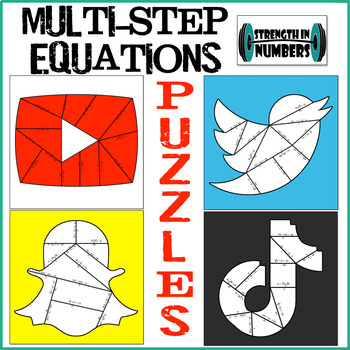 2 and Multi-Step Equations Social Media Cooperative Puzzle Set