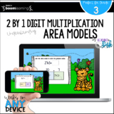 2 by 1 Digit Multiplication Using Area Models BOOM Cards™