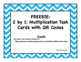 2 by 1 Multiplication Task Cards with QR Codes FREE