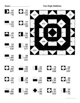 2 Digit Addition Color Worksheet