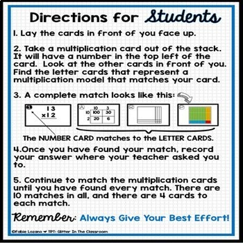 2 by 2 Multiplication Matching Cards-Models & Representations