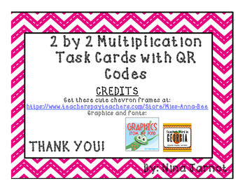 2 by 2 multiplication task cards with QR Codes