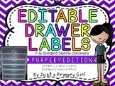 2 choices of Purple Chevron Editable Drawer Labels